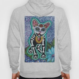 Turquoise Day of the Dead Cat Hoody