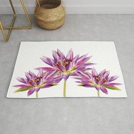 Violet Lotos - Lotus Water Lilies Flowers I Rug