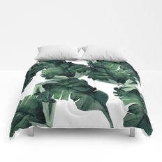Banana Leaves Pattern Green Comforters