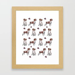 Brittany Spaniel Pattern Framed Art Print