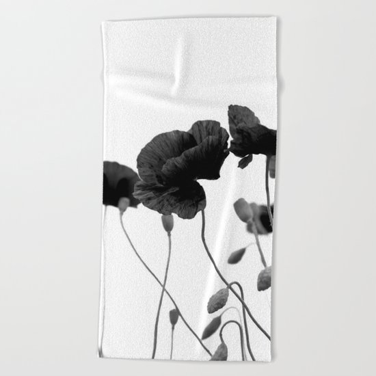 Poppy (black and white) Beach Towel