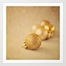 Gold glittery Christmas baubles. Art Print