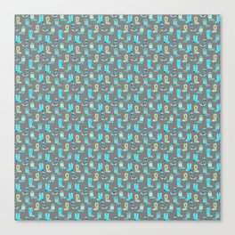 Green and Blue Cowgirl Boots Canvas Print