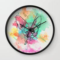 sphynx Wall Clocks featuring Watercolor Sphynx by Zeke Tucker