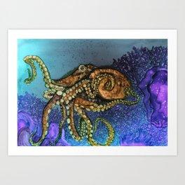 Octopus - alcohol ink Art Print