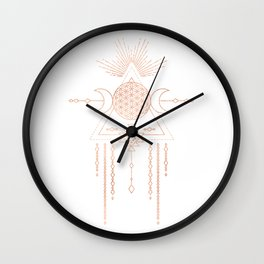Mandala Flower of Life Moon Pink Rose Gold Wall Clock