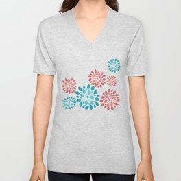 Flower Flurries Beige Unisex V-Neck
