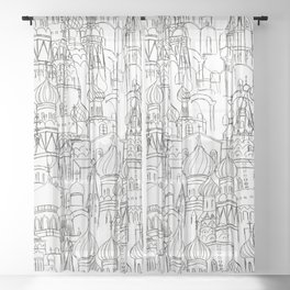 Russian cathedral church line drawing Sheer Curtain