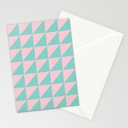Geo Triangles in Pink + Atomic Mint Stationery Cards