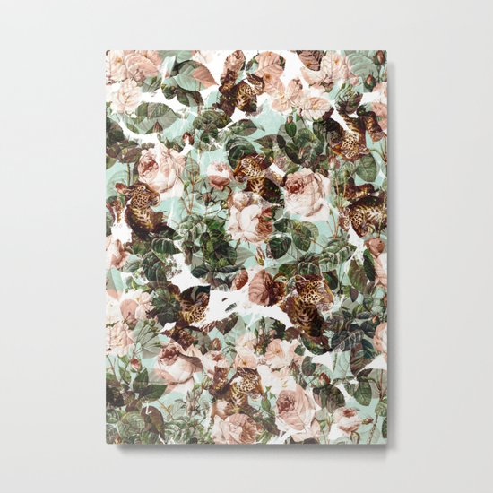 Floral and Leopard Pattern Metal Print