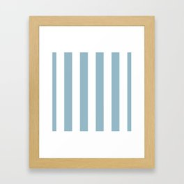 Large Baby Blue and White Vertical Cabana Tent Stripes Framed Art Print