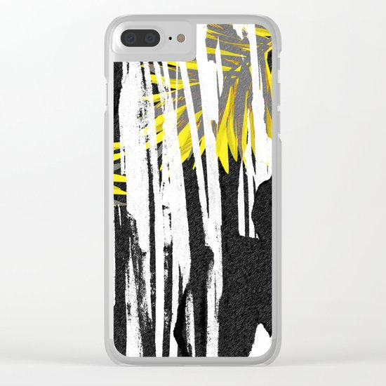 Abstract Palm Tree Leaves Design Clear iPhone Case