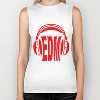 edm Biker Tanks featuring EDM Style Headphones by Mark