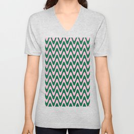 Cotton Candy Pink and Cadmium Green Horizontal Waves Unisex V-Neck