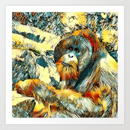 AnimalArt_OrangUtan_20170601_by_JAMColorsSpecial Art Print