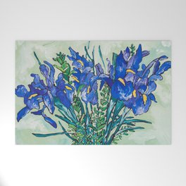 Iris Bouquet in Chinoiserie Vase on Blue and White Striped Tablecloth on Painterly Mint Green Welcome Mat