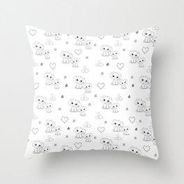 Cute Doodle Elephant Ink Art Throw Pillow