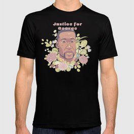 Justice for George | with pink text T-shirt