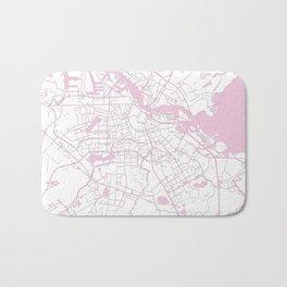 Amsterdam White on Pink Street Map Bath Mat