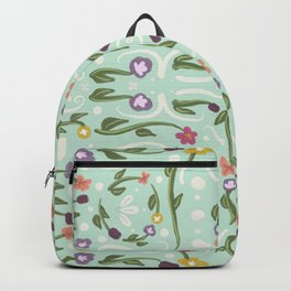 Mint Green Hand Painted Bohemian Flower Design Backpack