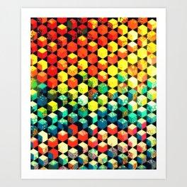 Colorful Hexagons - Geometric Pattern Art Print
