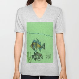 Foxface & Fugu Fish Unisex V-Neck