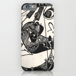 Herbie's Tune, Abstract Jazz Instruments Black and White Block Print iPhone Case