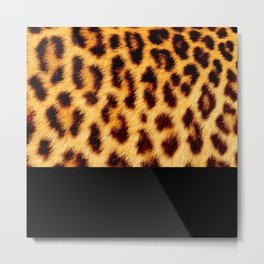 Leopard skin with black color Metal Print
