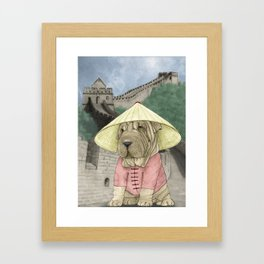 Shar Pei on the Great Wall (China) Framed Art Print
