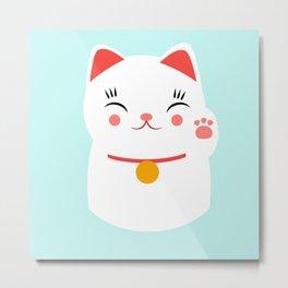 Lucky happy Japanese cat Metal Print