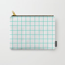 Grid (Turquoise/White) Carry-All Pouch