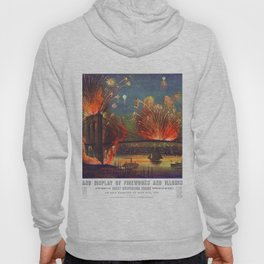 NEW YORK FIREWORKS city old map Father Day art print poster Hoody