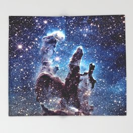 Pillars of Creation Smokey Blues Throw Blanket