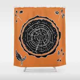 Autumnal Tree Trunk Cross Section with Wildflowers Design Shower Curtain
