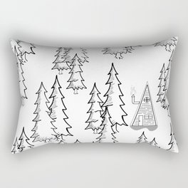 Lost in the wood, a lonely cabin Rectangular Pillow