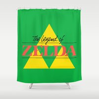 the legend of zelda Shower Curtains featuring The Legend of Zelda by Studio Momo╰༼ ಠ益ಠ ༽