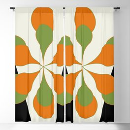 Mid-Century Modern Art 1.4 - Green & Orange Flower Blackout Curtain