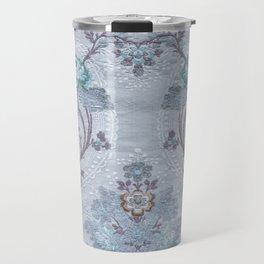 Blue Floral Pattern Art From Vintage French Taffeta Travel Mug