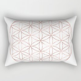 Mandala Rose Gold Flower of Life Rectangular Pillow