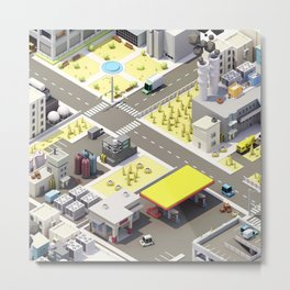Low Poly City Metal Print
