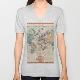 Vintage World Map 1801 Unisex V-Neck