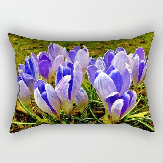 Blue Purple Crocuses Rectangular Pillow