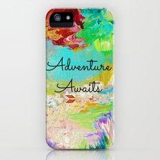 ADVENTURE AWAITS Wanderlust Typography Explore Summer Nature Rainbow Abstract Fine Art Painting Slim Case iPhone (5, 5s)