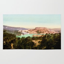 Forest mountains Lake Vintage Scenery Rug