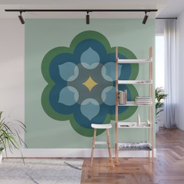 Modern Bloom in Mint Green and Blue Wall Mural