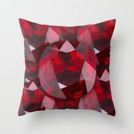 RED GARNET GEMS JANUARY BIRTHSTONE Throw Pillow