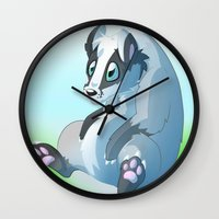 badger Wall Clocks featuring Badger badger badger badger  by Razinoats