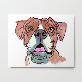 The Boxer cutie keeps you happy! Metal Print