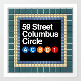 subway columbus circle sign Art Print