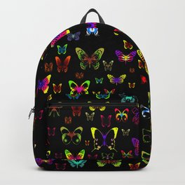 Numerous colorful butterflies on a neutral background Backpack